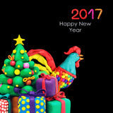 Gallo del gallo del Año Nuevo de Plasricine Imagenes de archivo