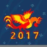 Gallo del gallo, símbolo de 2017 en el calendario chino Foto de archivo libre de regalías