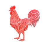 Gallo dell'acquerello su bianco Immagine Stock Libera da Diritti