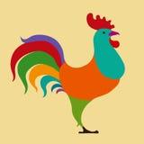 Gallo dell'illustrazione di vettore, calendario cinese Siluetta del gallo rosso, Fotografia Stock