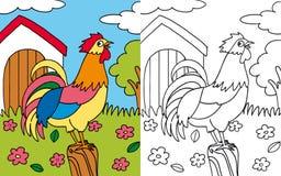 Gallo della gallina del libro di coloritura Immagini Stock Libere da Diritti