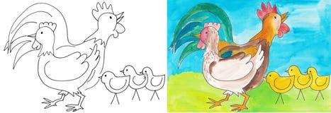 Gallo e gallina Fotografia Stock Libera da Diritti
