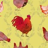 Gallo e polli Priorità bassa senza giunte di vettore Immagini Stock Libere da Diritti