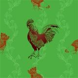 Gallo e polli Priorità bassa senza giunte di vettore Fotografia Stock