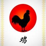 Gallo e sole di canto su bianco Immagine Stock
