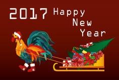 Gallo en botas y casquillo del trineo afortunado de Santa Claus con los regalos libre illustration
