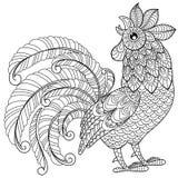 Gallo en estilo del zentangle Símbolo del Año Nuevo chino 2017 Página antiesfuerza adulta del colorante Garabato dibujado mano bl Fotos de archivo