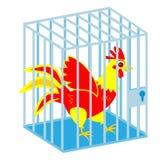 gallo en jaula en blanco libre illustration