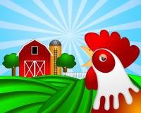 Gallo en pasto verde con el silo de grano rojo del granero ilustración del vector