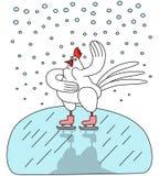 Gallo en patines Foto de archivo libre de regalías