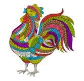 Gallo, illustrazione di vettore del gallo Uccello disegnato a mano dell'azienda agricola nello stile di scarabocchio per antistre Immagine Stock