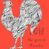 Gallo ornamentale disegnato a mano di stile Grande per la stampa, progettazione di feste Fotografia Stock