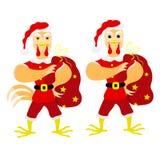 Gallo Papá Noel con los regalos gallo en un sombrero de santa libre illustration