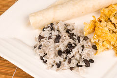 Gallo pinto breakfast. Traditional Central American breakfast around its staple gallo pinto royalty free stock photos