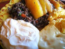 Gallo pinto. Rice and beans. Costa Rica  traditional food. Fantastic Breakfast gallo pinto rice beans. Tourism stock photo