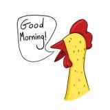 Gallo que dice el ejemplo de la buena mañana Foto de archivo libre de regalías