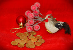 Gallo rojo ardiente - el símbolo del Año Nuevo Imágenes de archivo libres de regalías