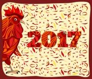 Gallo rojo estilizado, Año Nuevo chino Fotos de archivo libres de regalías