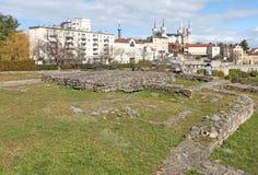 Gallo roman ruins and Basilica Fourviere in Lyon, France Stock Photo