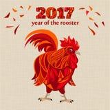 Gallo rosso stilizzato, illustrazione cinese di vettore del nuovo anno Fotografia Stock Libera da Diritti