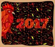 Gallo rosso stilizzato, illustrazione cinese di vettore del nuovo anno Immagini Stock