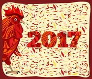 Gallo rosso stilizzato, nuovo anno cinese Fotografie Stock Libere da Diritti