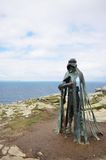 Gallo statue overlooking cornish coast at Tintagel. Inspired by Legend of King Arthur. Tintagel Cornwall , United Kingdom - July 01, 2016:  Gallo statue Stock Photography