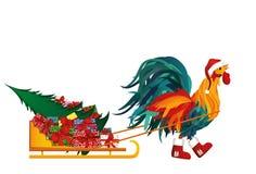 Gallo in stivali e cappuccio della slitta fortunata di Santa Claus con i regali Fotografia Stock Libera da Diritti