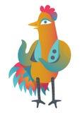 Gallo variopinto con il tatuaggio del sole in panciotto Illustrazione isolata nello stile del fumetto Progettazione cinese di sim royalty illustrazione gratis