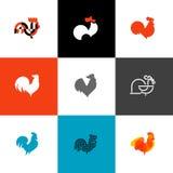 Gallo y gallo Ejemplos planos del vector del estilo del diseño fijados de Imágenes de archivo libres de regalías