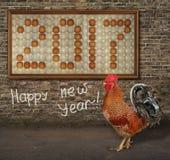 Gallo y imagen del fuego de los huevos Foto de archivo