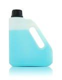 Gallon en plastique avec le liquide bleu Photographie stock libre de droits