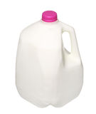 Gallon Milk Bottle with pink Cap Isolated on White Stock Photo