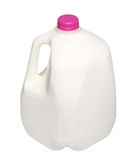 Gallon Milk Bottle with pink Cap Isolated on White Royalty Free Stock Photos