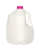 Gallon Milk Bottle with pink Cap on White Stock Photography
