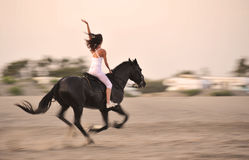 Galloping horse. Galloping black stallion with a young girl on a beach stock photos