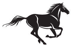 Galloping horse. Black galloping horse silhouette with some details. Vector illustration stock illustration