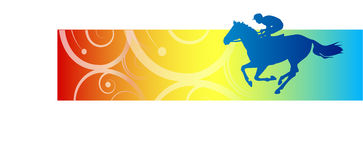 Galloping horse banner. Bright colorful banner with galloping racehorse and jockey in profile Stock Illustration