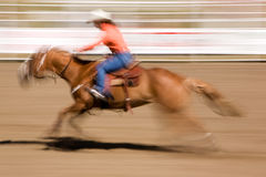 Galloping Horse with Cowgirl Stock Image