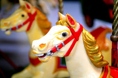 Galloping horse fairground ride. The head of a galloping horse on a fairground ride Stock Photos