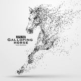 Galloping horse,Many particles,sketch,vector illustration,The moral development and progress. Galloping horse,Many particles,sketch,vector illustration,The Stock Photo