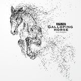 Galloping horse,Many particles,sketch,vector illustration,The moral development and progress. Galloping horse,Many particles,sketch,vector illustration,The Royalty Free Stock Photos