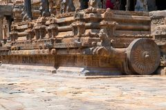 Galloping horse and niches on plinth of agra-mandapa, Airavatesvara Temple, Darasuram, Tamil Nadu. View from South East. Galloping horse and niches on plinth of stock image