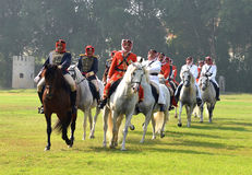 Galloping horsemen. Horsemen from Bahrain's Interior Ministry are seen at a practice session Stock Photos