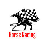 Galloping racehorse symbol for equine sport design. Galloping racehorse black and white silhouette for equestrian sporting competition design supplemented by Royalty Free Stock Photos
