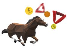 A galloping stallone horse champion with medals stock photos