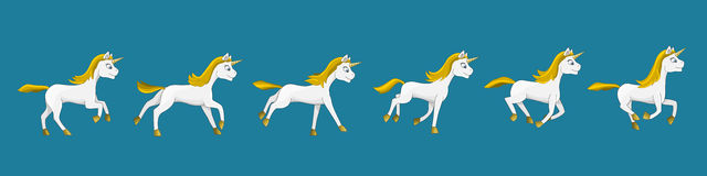Galloping unicorn cartoon Stock Photography