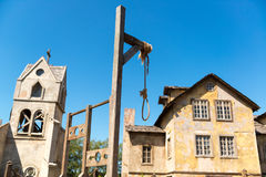 Gallows in an abandoned village Royalty Free Stock Photo