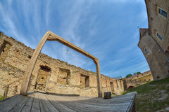 Gallows and execution platform in medieval fortress. In Transylvania, Romania Royalty Free Stock Image