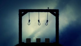 The Gallows Ready for an Execution with a Black Raven in a Storm stock footage